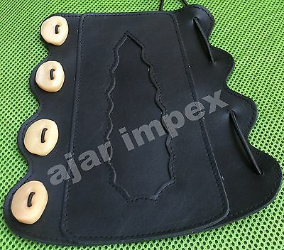 Archery Adjustable Arm Guard/ Real Leather Arm Protection/ Real Bone Buttons
