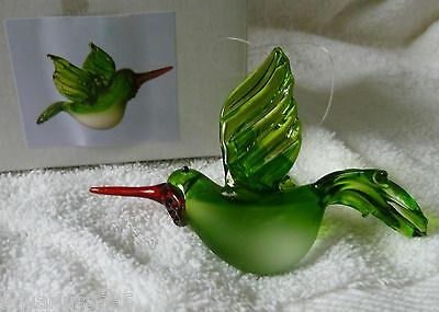 Glass Hummingbird Hanging Ornament GREEN and WHITE