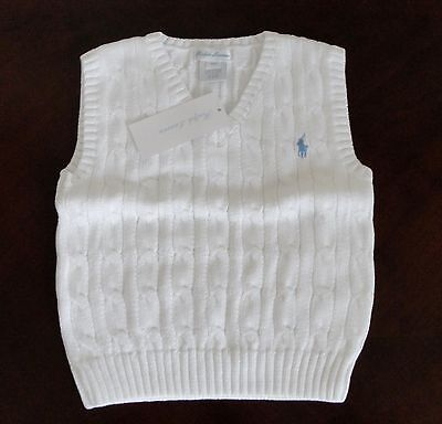 NWT Ralph Lauren Infant Boys Sleeveless White Cable Sweater Vest 12m 18m 24m NEW