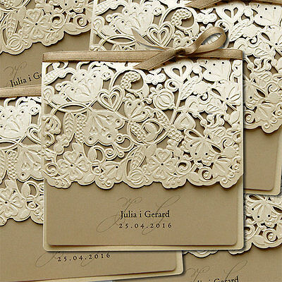 50 Personalised Embossed Wedding Invitations Laces Laser Cut Free P*P