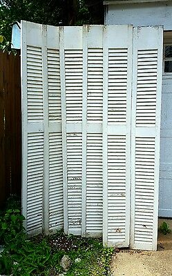 "2 Vtg Solid Wood Old LOUVERED SHUTTERS 80""X 10"" Wooden Window Shutter Exterior"