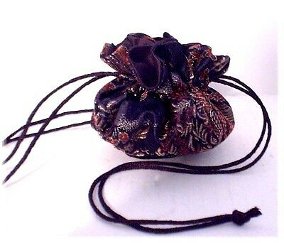 BLACK CHINESE SATIN BROCADE JEWELRY POUCH bag travel