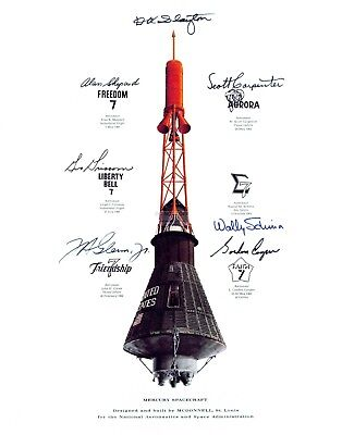 Mercury Capsule Mission Insignia Simulated Autographs  11X14 Nasa Photo (Lg-000)