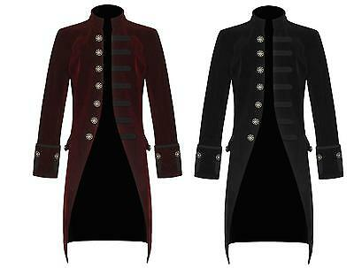 Men's Jacket Red and Black Velvet Goth Steampunk Victorian Frock Coat