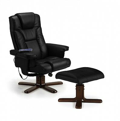 Julian Bowen Malmo Heat Massage Recliner and Footstool, Black. Free Delivery
