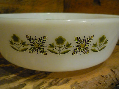 Vintage Anchor Hocking Fire-King 1.5Qt Dish ~ Green Meadow ~ 437 ~ 21 ~ No lid