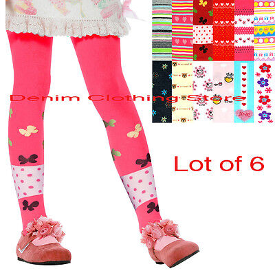 Lot Of 6 Girl Mopas Winter Assorted Printed Tights Cute Comfortable Size Xs-Xl