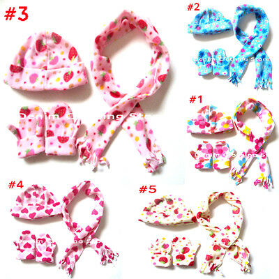 3 Pieces New  Kids Girl Strawberry Floral  Scarf-Hat-Gloves Set Winter Combo Set