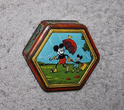 EX! DISNEY FRENCH 1930's MICKEY MOUSE LITHOGRAPHED 2 PIECE HINGED TIN CONTAINER!