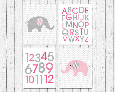 Pink Chevron Elephant Printable Nursery Wall Art
