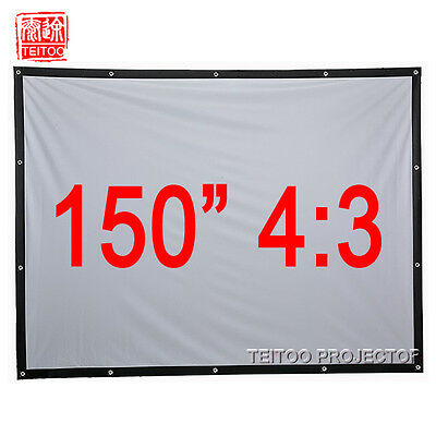 """150"""" 4:3 Portable Projection Screen Canvas Material for HD LCD LED DLP Projector"""
