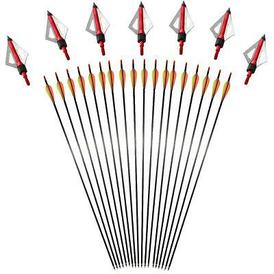 "31"" SP 400 Archery Carbon Fiber Arrow Field Points 100 Grain Hunting Broadheads"