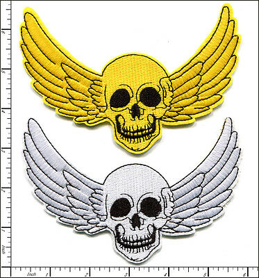 20 Pcs Embroidered Iron on patch Wing Skull Halloween 14.5x10cm AP021wA