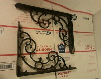 pair (2) antique cast iron scroll shelving brackets 8 3/4 x 11 3/4 garden braces