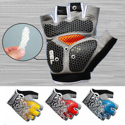 Cycle Bike Bicycle Gel Silicone Palm Padded Half Finger Gloves Mitts Fingerless
