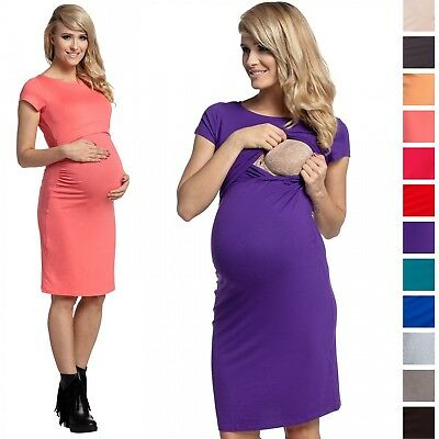 Happy Mama. Women's Maternity Nursing Layered Pencil Dress. Short Sleeves. 971p