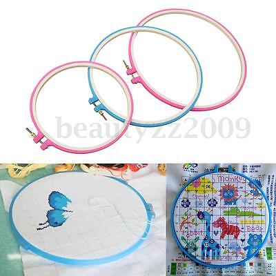 DIY Plastic Cross Stitch Machine Embroidery Hoops Ring Frame Hand Sewing 21-27cm