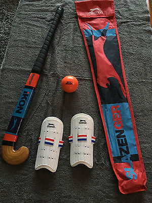 "Brand New Slazenger Ikon Childs Size 30"" Hockey Stick Set With Ball & Shin Pads"