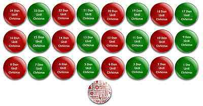 x25 COUNTDOWN TO CHRISTMAS button 1 inch 25mm button pin badges merry xmas