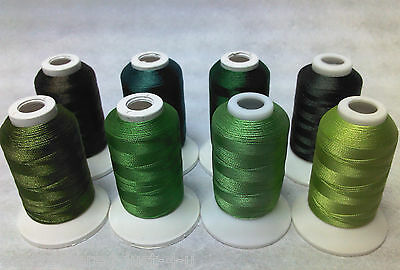 8 X 1000M Reels Of  Polyester Machine Embroidery Threads - Green Shades