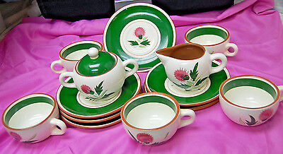 Vintage Stangl Pottery, Thistle - Sugar w/ Lid, Creamer, 5 Cups, 6 Saucers S6392