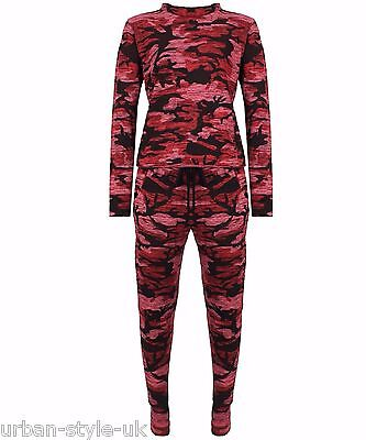 NEW Kids Childrens Wine Army Camouflage Two Piece Tracksuit Jogger Jumper Lounge