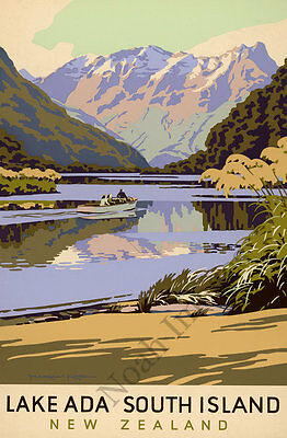 Lake Ada vintage New Zealand travel poster repro 24x36