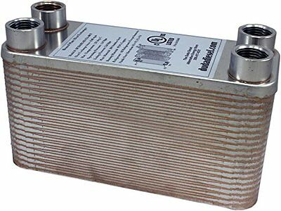 """B3-12A 40 Plate Stainless Steel Heat Exchanger with 1/2"""" Female NPT Ports Copper"""