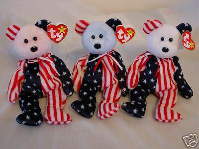 Spangle Set of 3 bears Blue Red White New