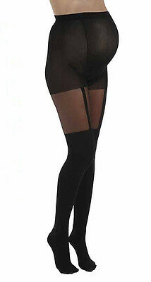 Maternity Tights ~ Plain Stripe Mock Suspender Tights ~ Black ~ M/L