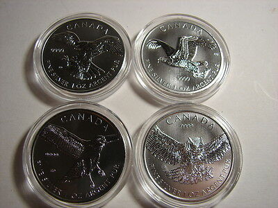 Canadian Birds of Prey Complete Set 2014-2015 Falcon Eagle Hawk Owl 1 oz Silver!