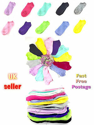 trainer socks mix colours womens teenagers ladies ankle liner sock footsie