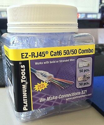 Platinum Tools 202016J EZ-RJ CAT 6  50/50 Combo Connectors100-Pc Jar