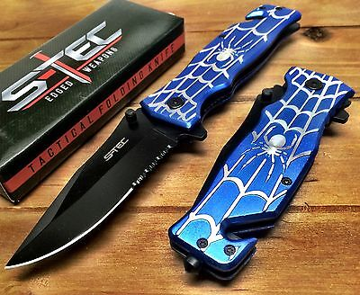 Spring Assisted Pocket Knife Open BLUE SPIDERMAN Comics Hero Spider Collector BL