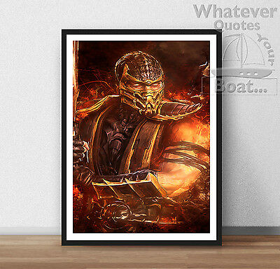 Scorpion Mortal Kombat Poster Life Arcade Wall Art  - All Sizes + Frame