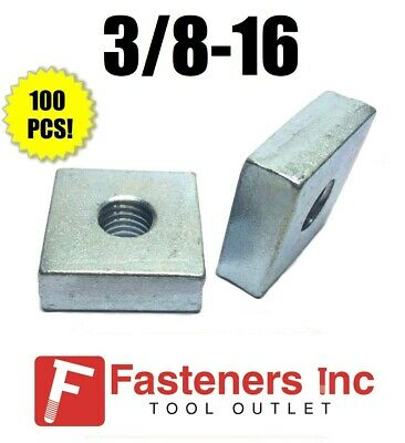 """(4842) P1959 3/8""""-16 X 1-1/4 X 1-1/4 Square Nuts for Unistrut Channel (100 Pack)"""