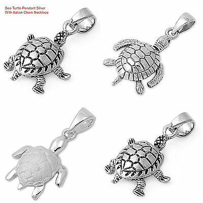 "Sterling Silver 925 ""SEA TURTLE"" PENDANT DESIGN WITH SNAKE CHAIN NECKLACE 16"""