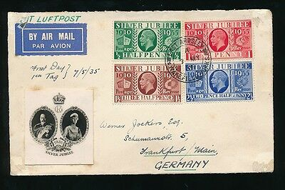 Gb 1935 Silver Jubilee First Day Cover Set East Ardsley Yorks Airmail