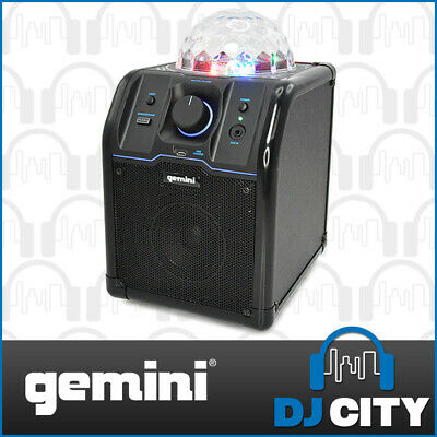 Gemini MPA-500B Black Bluetooth Speaker System with LED Disco Ball Colour Lig...