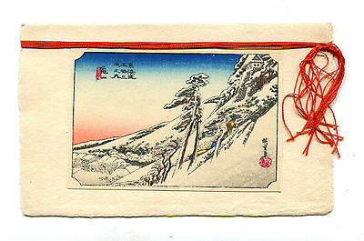 Vintage Japanese  CHRISTMAS CARD Wood block print 1920s