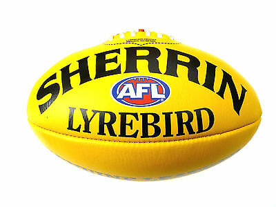 Afl Sherrin Lyrebird Yellow Leather  Full Size Football - Brand New