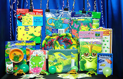 Frog Party Set # 16 Plates Napkins Tablecover Centerpiece Invites Tattoos Game