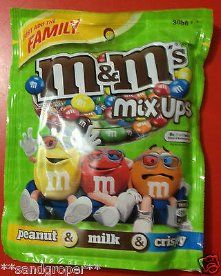 AUSTRALIAN M&M's MIX UPS PEANUT MILK CRISPY 1 x 305g FAMILY JUMBO PACKET M&Ms