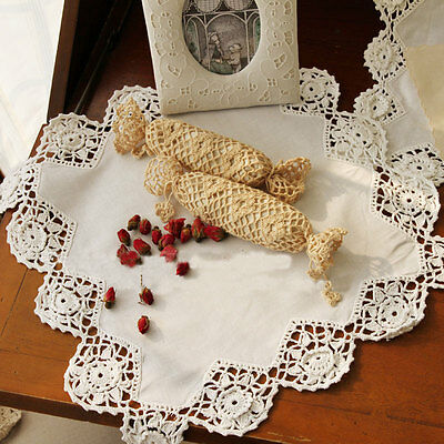 Vintage Style 3D Flower Crochet Lace Beige Cotton Table Topper Doily