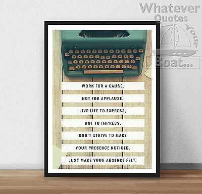 WORK FOR A CAUSE - Awesome Quote Poster Success Motivation Print Life + Frame