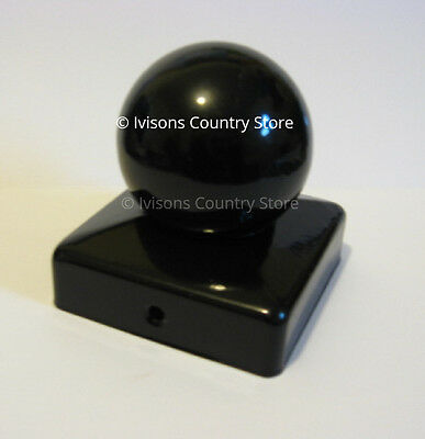 "75mm Epoxy Black Metal Fence Gate Flange and Ball Caps for 3"" posts finail"