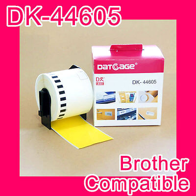 8 rolls of Compatible Brother DK-44605 Yellow Continious Removable Paper Tape