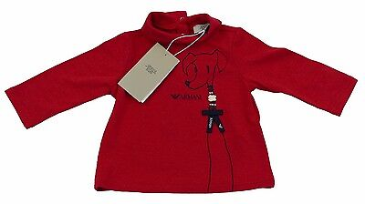 Armani Baby Girls Red Tshirt/Top Polo 100% Genuine Luxury SZ 3m/56cm BNWT