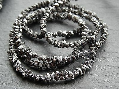 """BLACK DIAMOND NUGGETS / CHIPS, graduated 2.2mm - 3mm, 16"""", 240+ beads, 20ctw"""