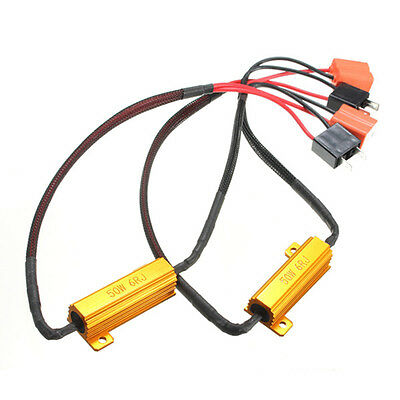 2pcs H7 LED DRL Fog Light Canbus 50W 6Ohm Load Resistor Wiring Canceller Decoder